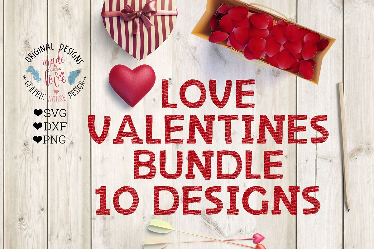 Love Valentines Cut File Bundle in SVG, DXF, PNG example image 1