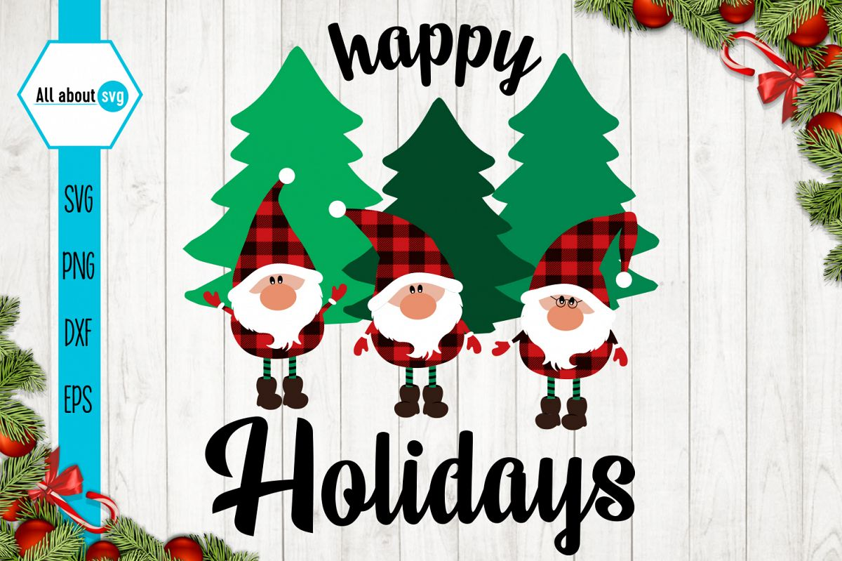 Happy Holidays Svg, Gnomies Buffalo Plaid Svg example image 1