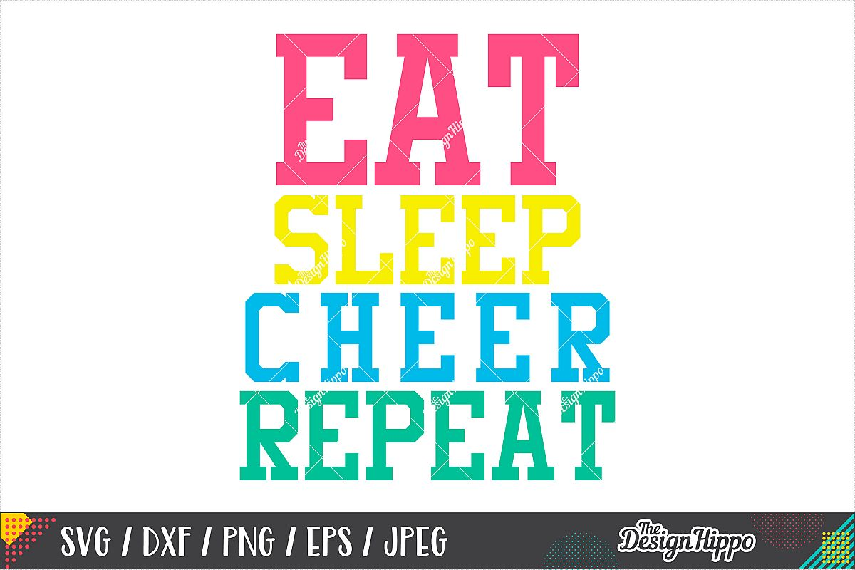 Eat Sleep Cheer Repeat SVG, Cheer Mom SVG DXF PNG Cut Files example image 1