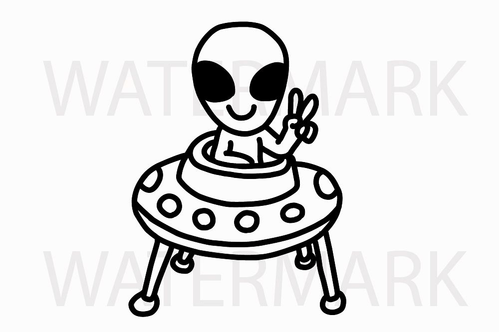 Alien Hello Earthlings showing 2 fingers - SVG/JPG/PNG Hand Drawing example image 1