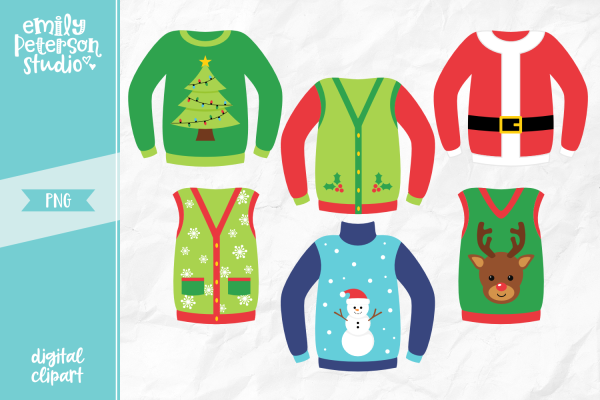 Ugly Christmas Sweater Clipart.Ugly Christmas Sweaters Clipart Illustration Png