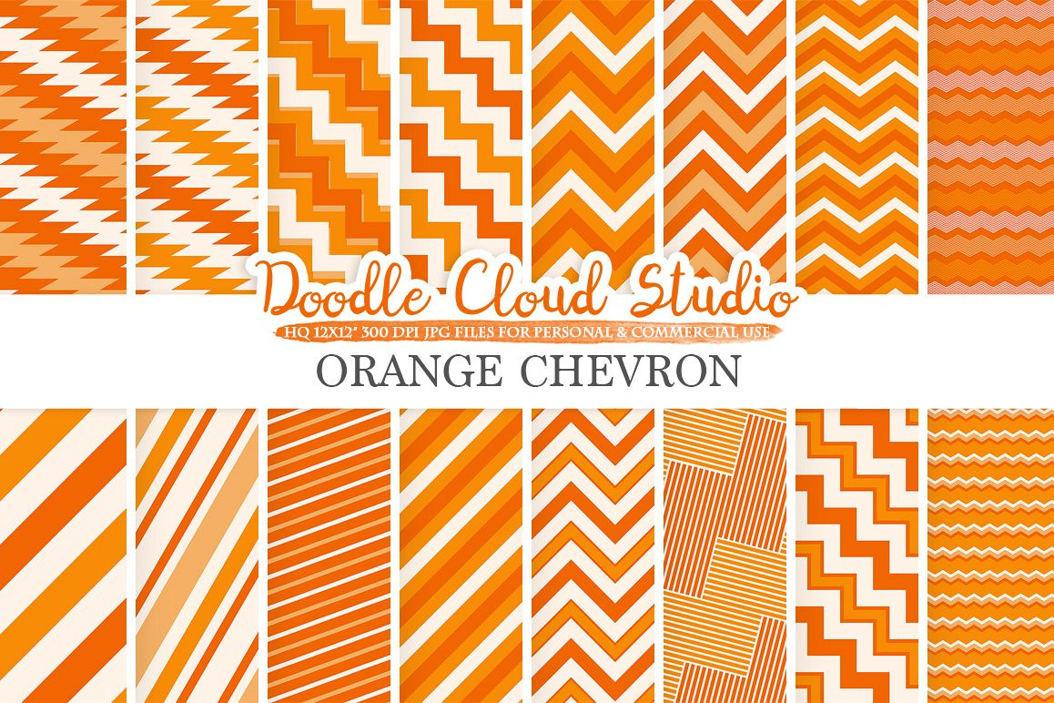 Orange Chevron digital paper, Chevron and Stripes  pattern, Zig Zag lines background, Instant Download for Personal & Commercial Use example image 1
