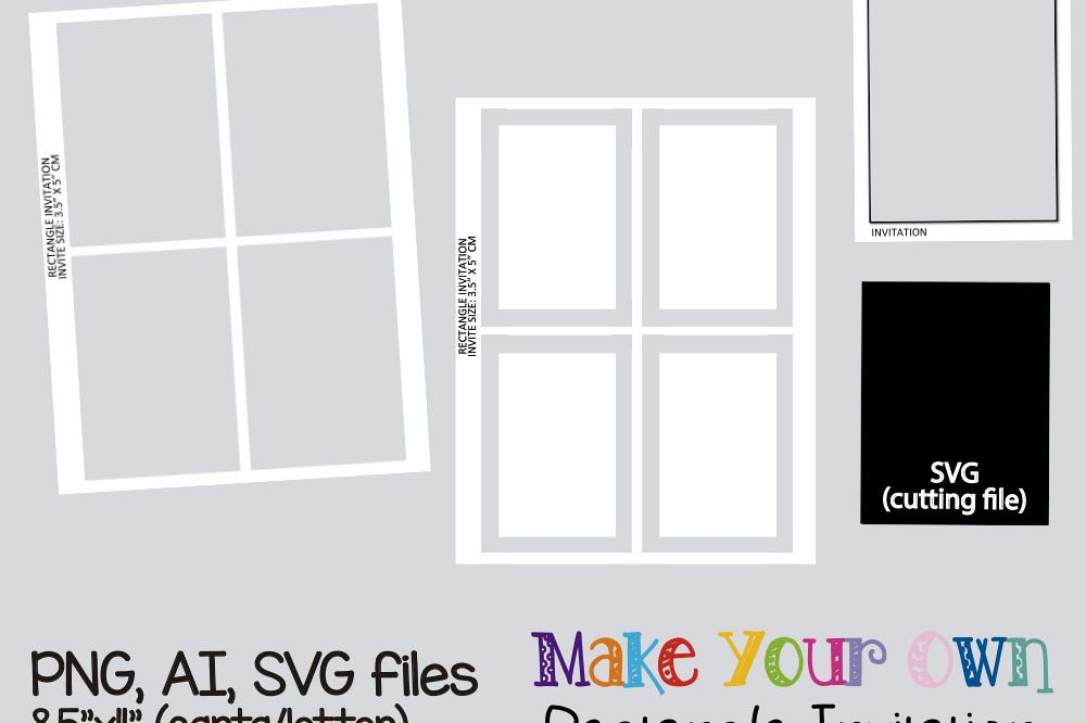 Rectangle invitation template, collage sheet template, digital ...