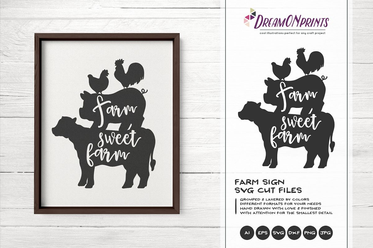 Farm Sweet Farm SVG - Stacked Animals Svg example image 1