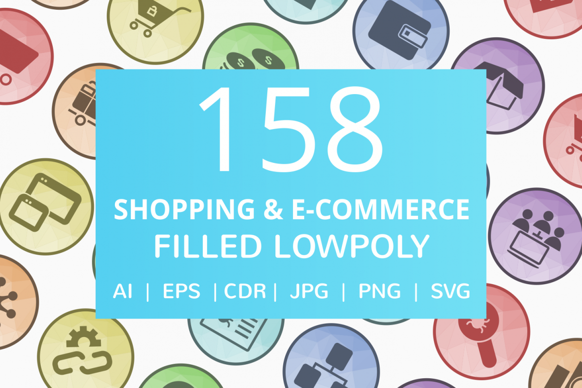158 Shopping & E-Commerce Filled Low Poly Icons example image 1