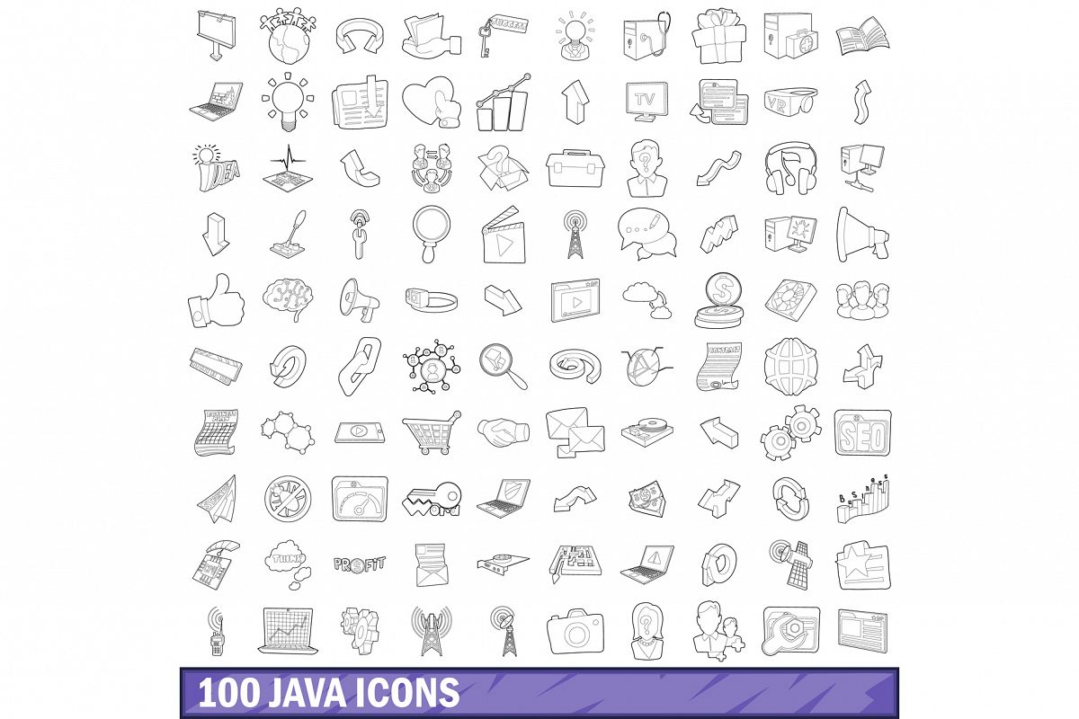 100 java icons set, outline style example image 1