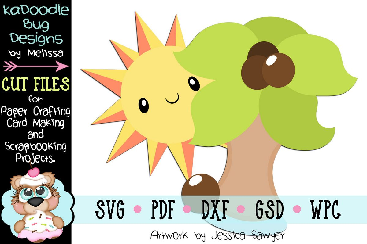 Sunny Palm Tree Cut File - SVG PDF DXF GSD WPC example image 1