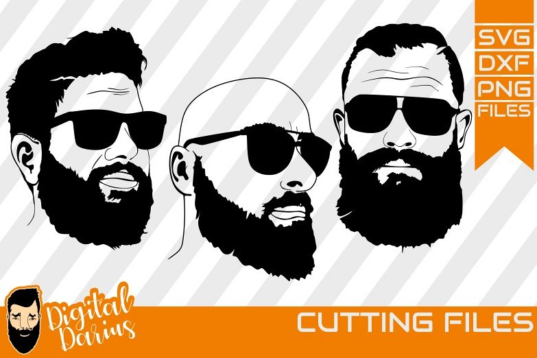 3x Beard man with glass svg, Man face SVG, Man svg,Hairstyle example image 1