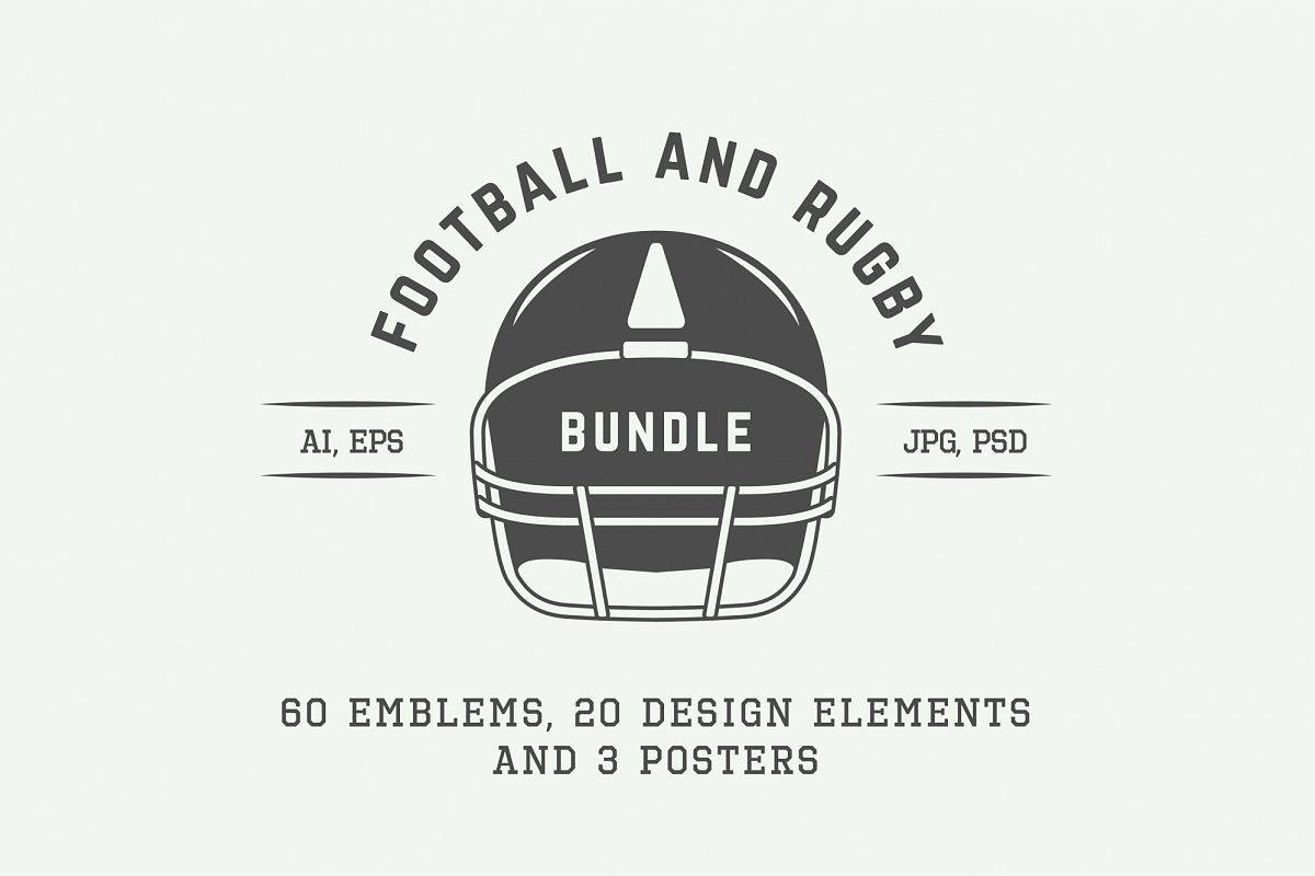 Football and Rugby Emblems Bundle example image 1