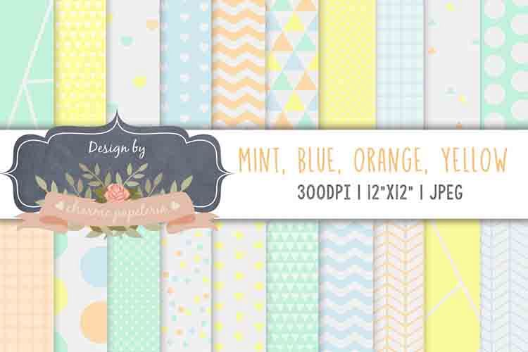 Pastel orange blue mint yellow digital papers, triangles example image 1