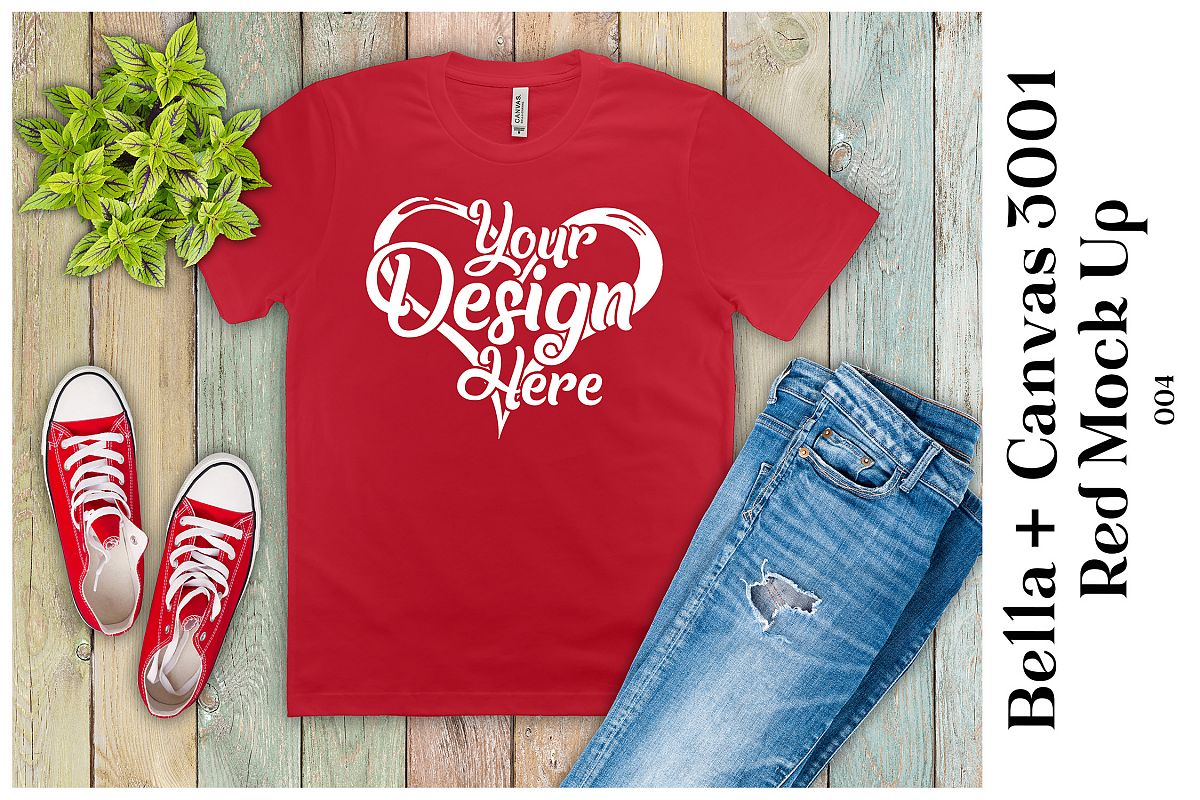 Mens T-Shirt Mockup Red Bella Canvas 3001 Mock up example image 1