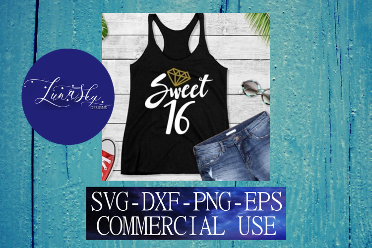 Sweet 16 SVG, DXF, PNG, EPS Cutting files example image 1
