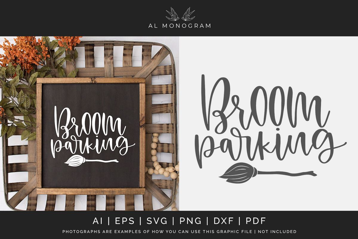 Broom Parking Farmhouse Sign Halloween SVG Digital Laser Cut example image 1