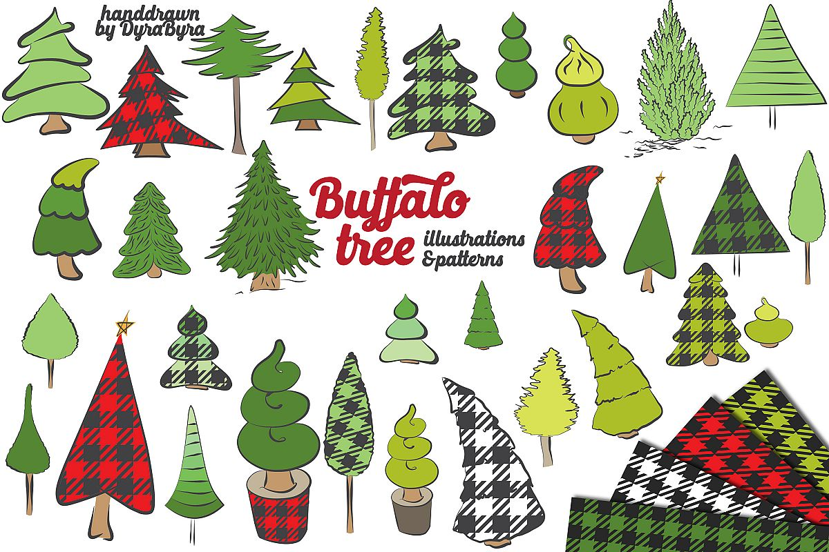 Christmas Tree Vector.Buffalo Plaid Christmas Trees Vector Svg Eps