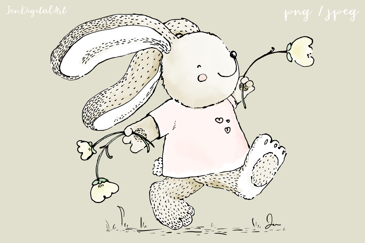 Cute 'Rabbit Skipping with Flowers'   Clip Art Illustration example image 1