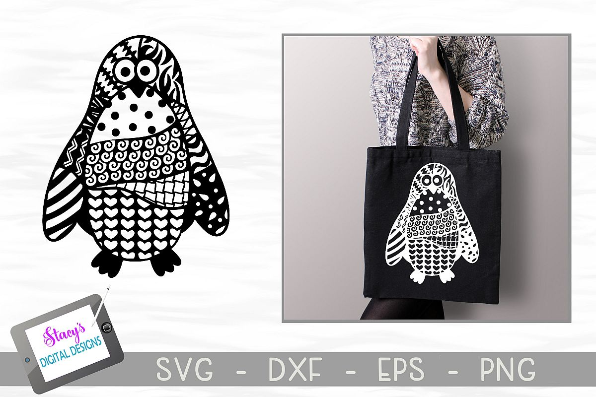Penguin SVG with Doodle patterns example image 1