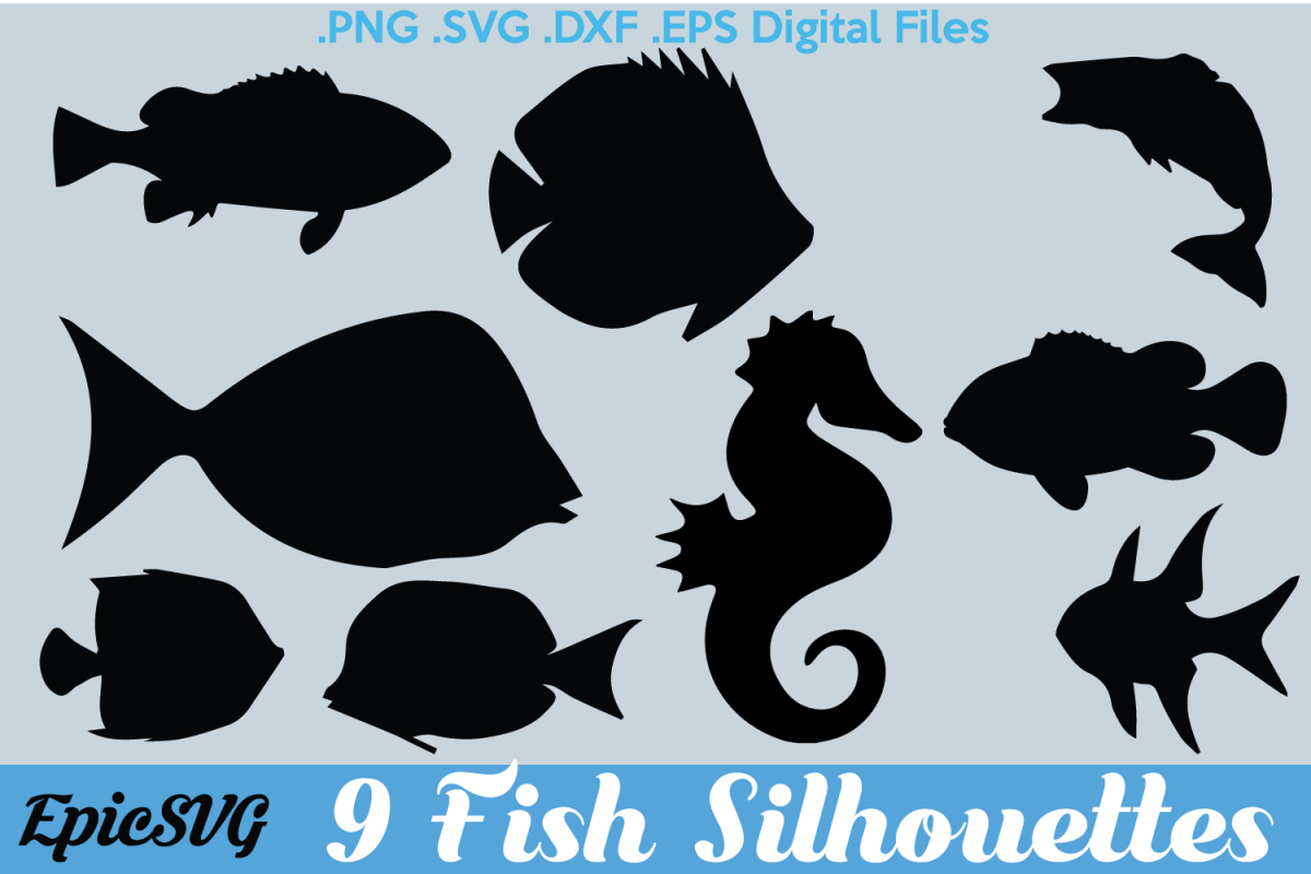 9 Fish Svg Dxf Clipart Vector Graphic Fish Seahorse Sea Life