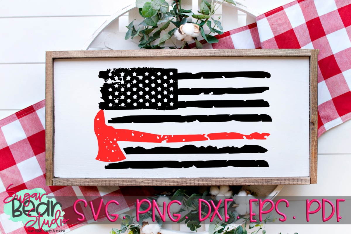 Firefighter Axe Distressed Flag - A Firefighter Flag SVG