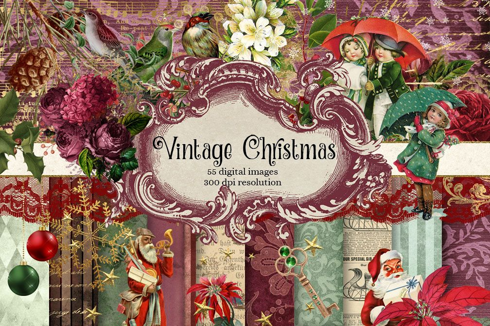 Vintage Christmas Digital Scrapbooking Kit example image 1