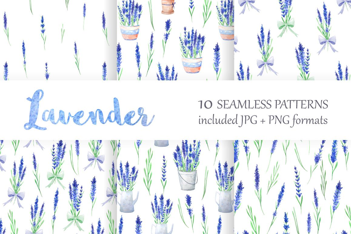 Lavender Watercolor Seamless Patterns example image 1