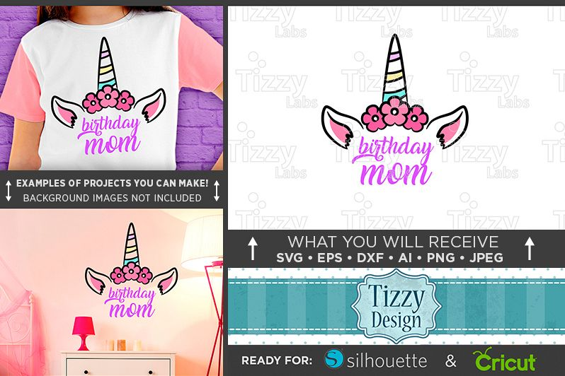 Birthday Mom SVG - Unicorn Birthday Mom SVG - 1014 example image 1