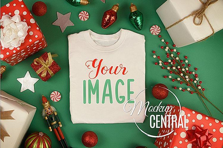 Blank White Folded Christmas T-Shirt Shirt Mockup JPG example image 1