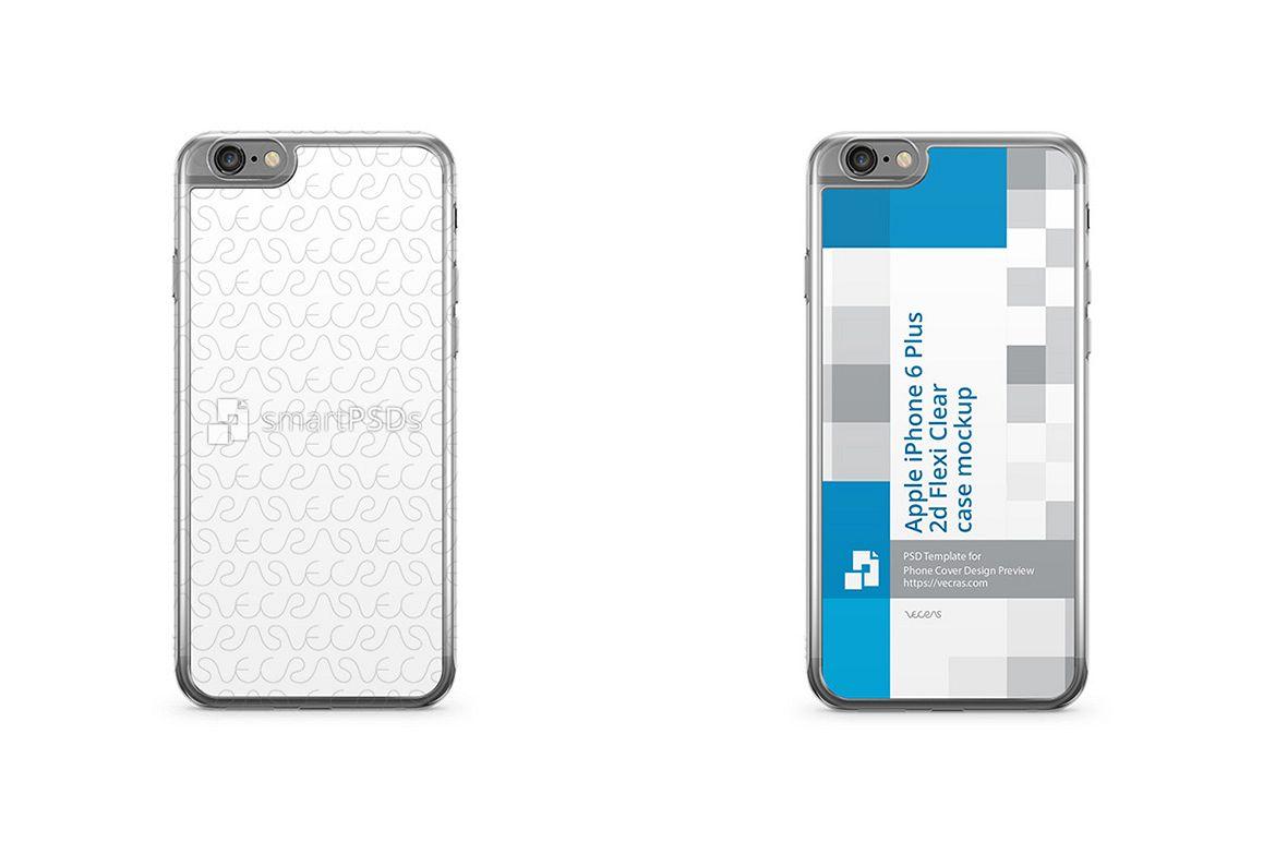 Apple Iphone 6s Plus 2d Flexi Clear Case Design Mockup 2016