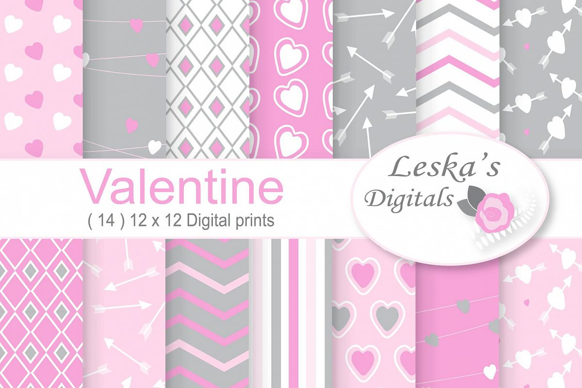 Valentine Digital Paper Printable's - Pink and Grey example image 1
