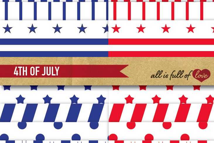 July 4 Background Patterns Americana Digital Paper Red and Blue Stripes and Stars example image 1