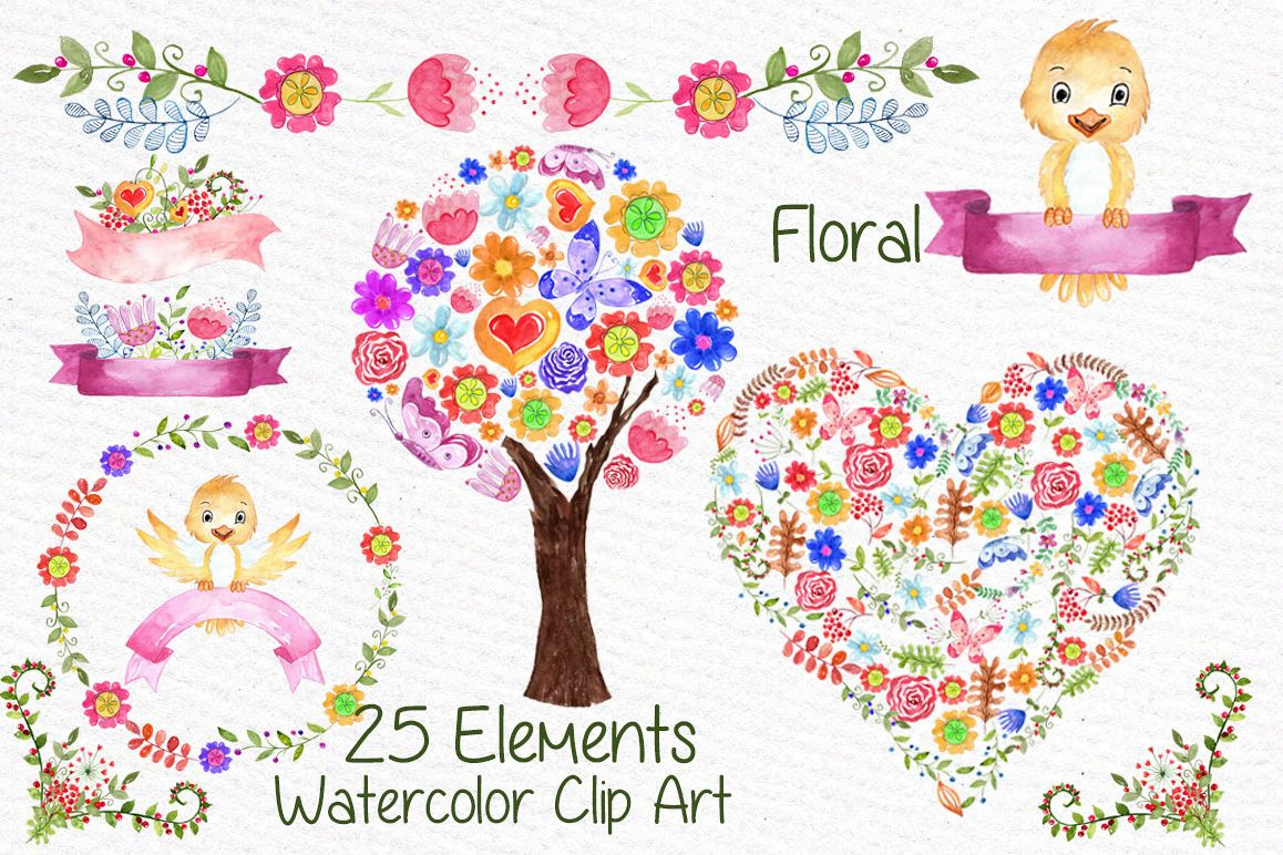 Watercolor kids floral clipart example image 1