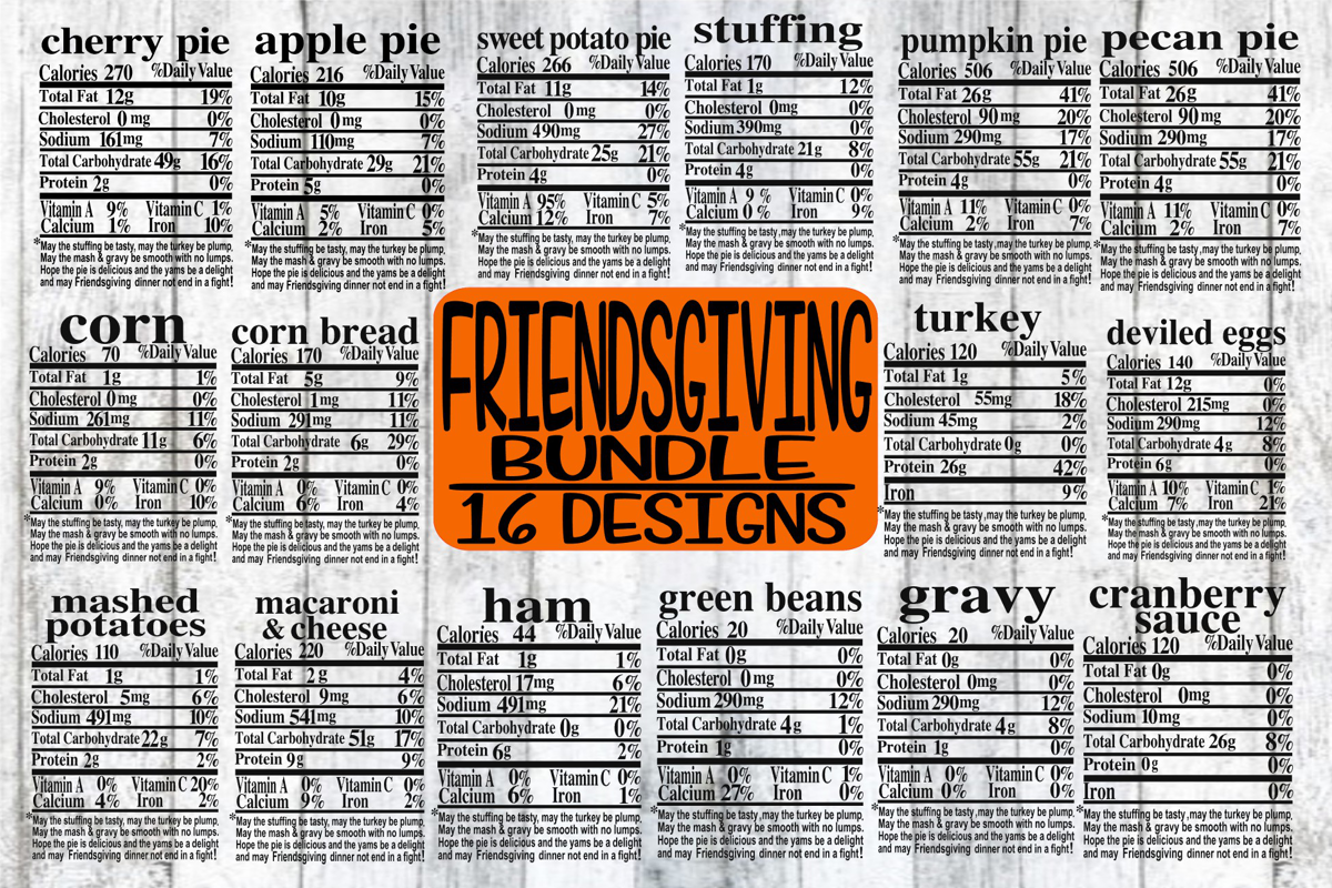 Friendsgiving Family Bundle - Labels - 16 Designs - SVG only example image 1