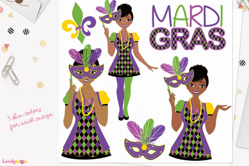 Mardis Gras woman character clip art L334 Jewel example image 1