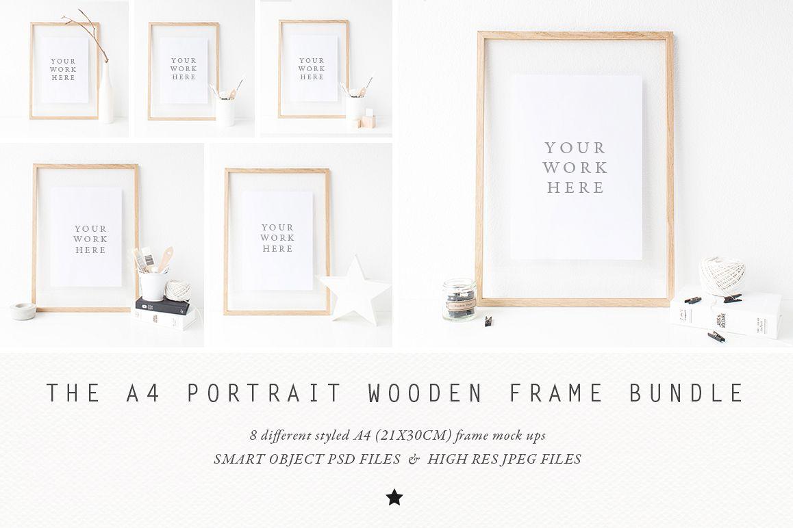 BUNDLE - A4 Wooden Frame mock up example image 1