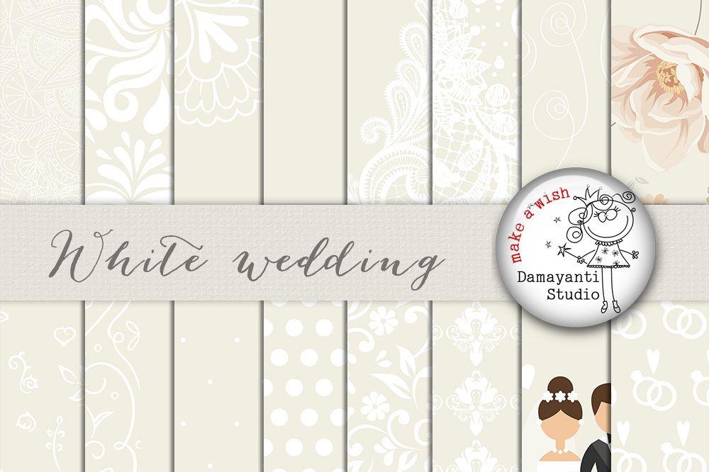 Lace wedding. White digital paper pattern