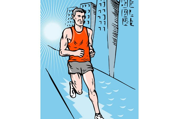 marathon runner running race sketch style example image 1