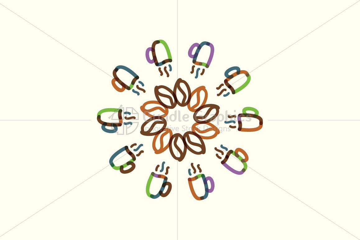 Coffee Beans And Cups - Mandala Composition example image 1