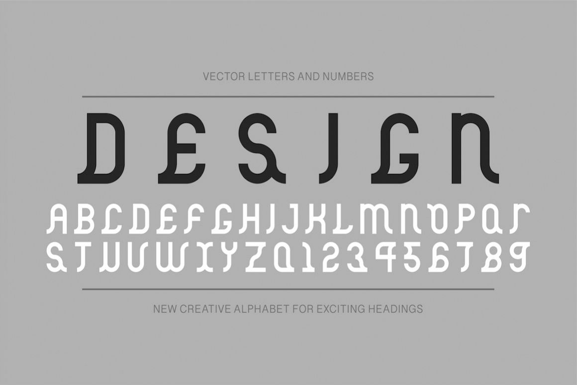 Vector ancient creative alphabet example image 1
