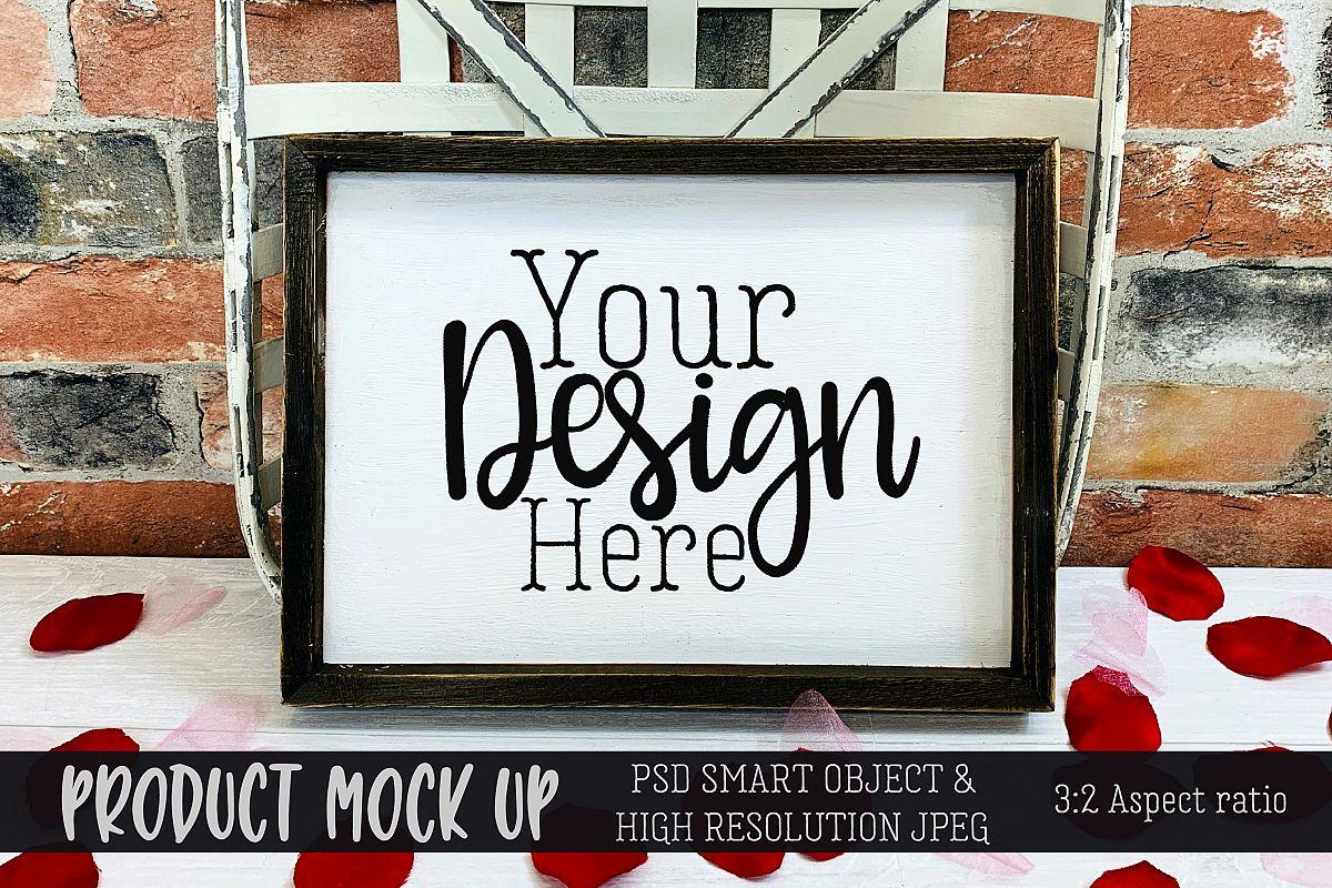 Valentine sign Craft MOCKUP | PSD & JPEG example image 1