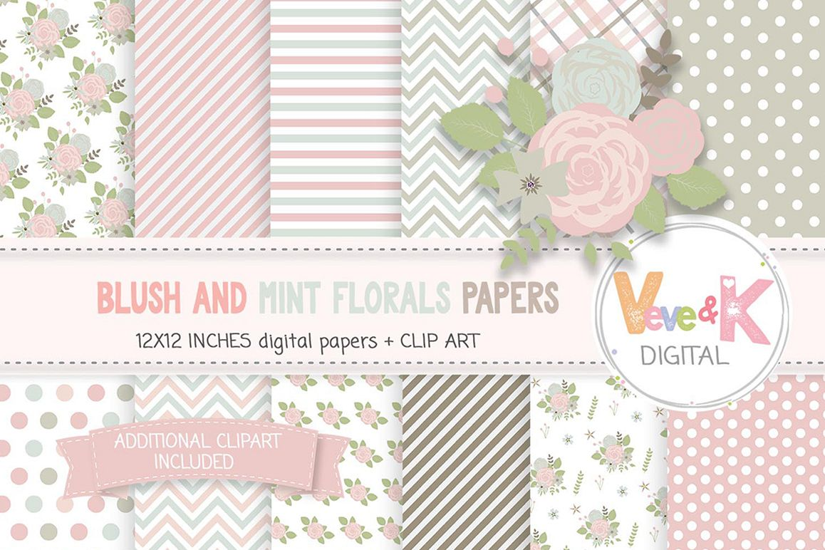 Blush And Mint Floral Papers Flower Digital Papers Floral Clipart Digital Papers Floral Images Scrapbooking Florals