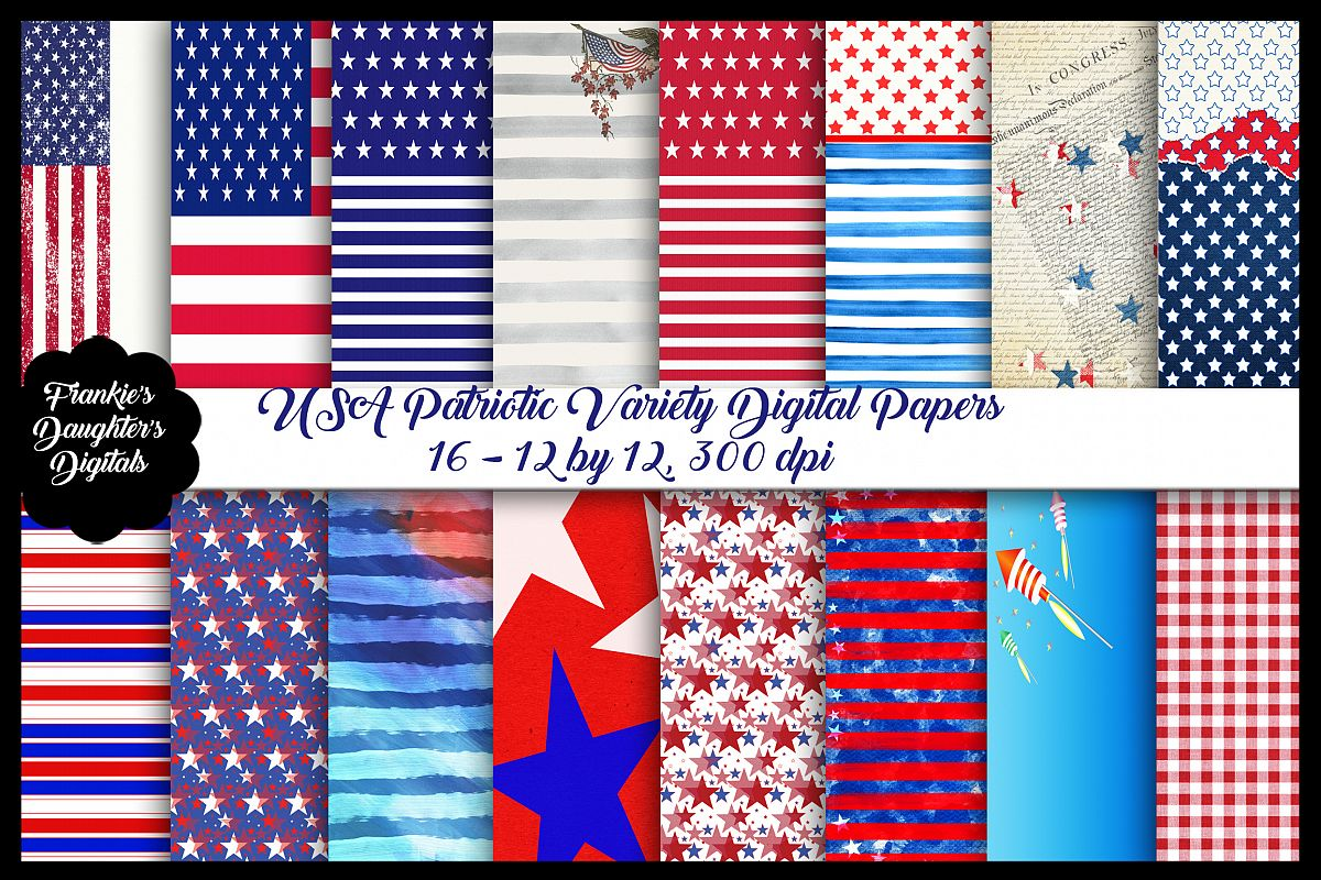 USA, 4th of July Patriotic Digital Papers example image 1