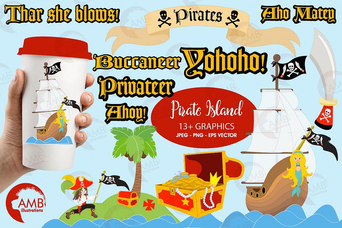 Pirate Island cliparts, Pirate Elements | Design Bundles