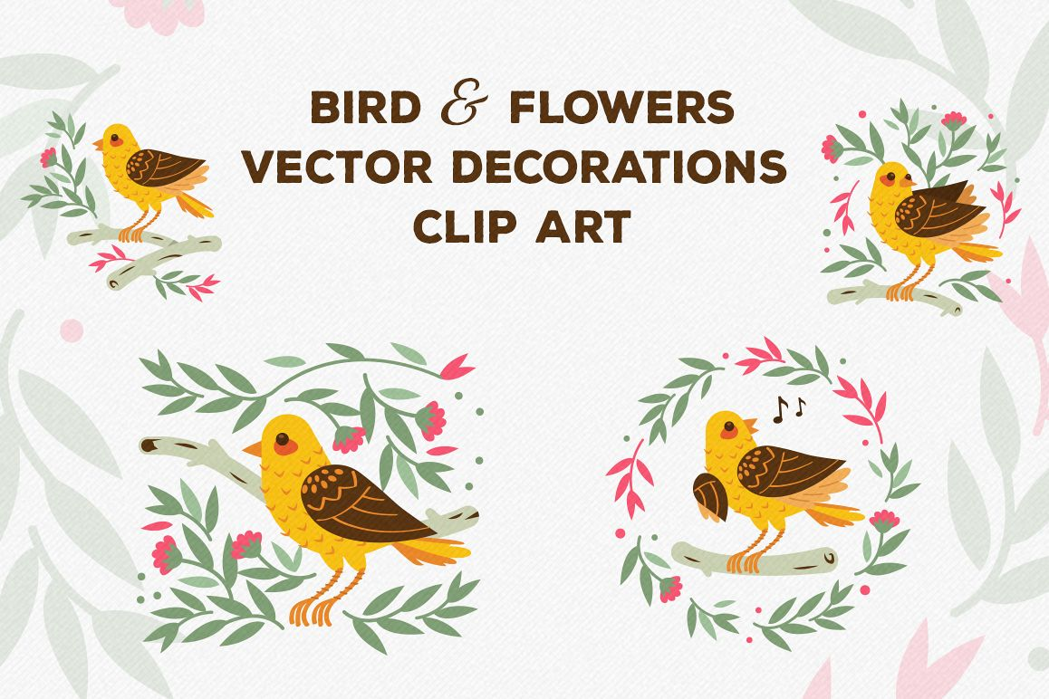 Birds and Flowers Vector Decorations example image 1