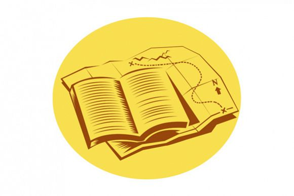 Open Book Trail Map Oval Woodcut example image 1