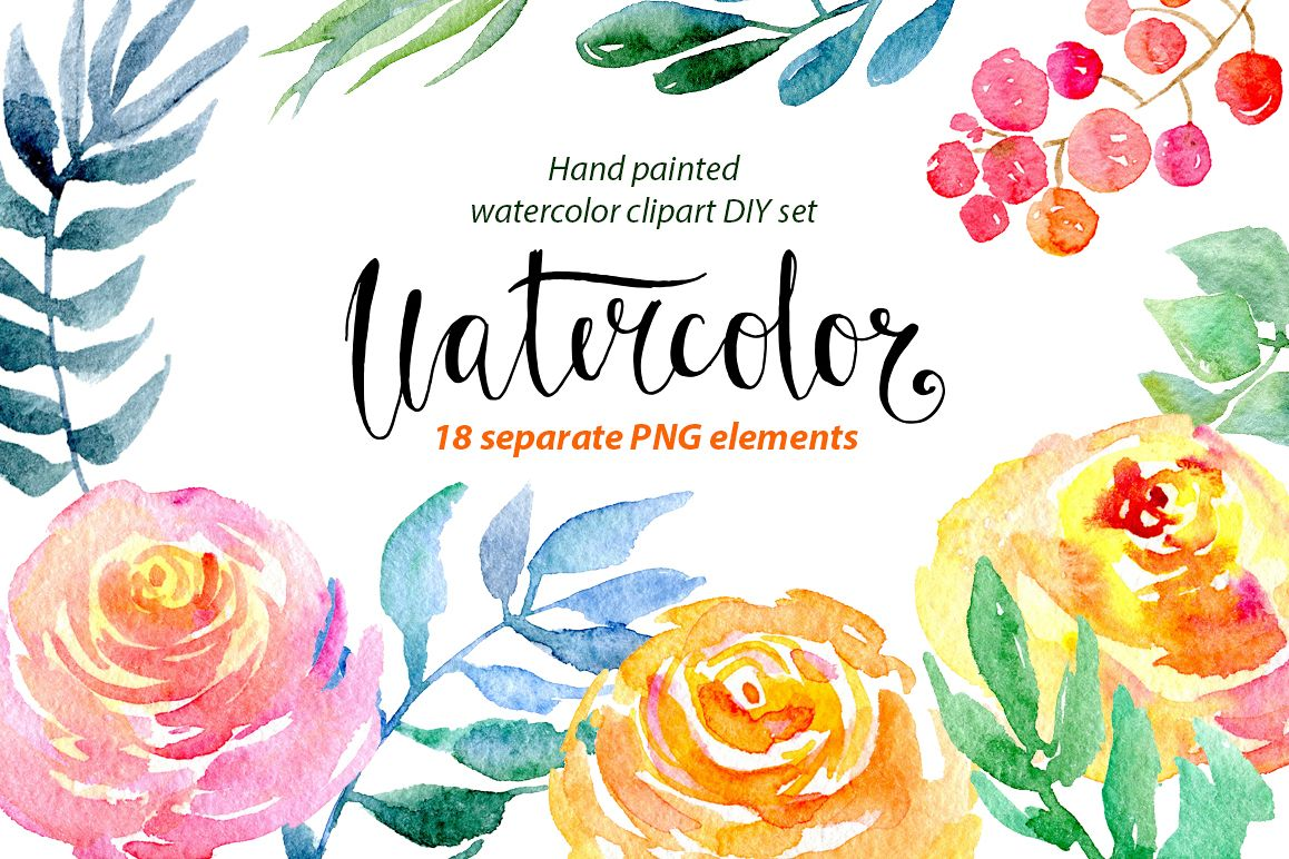 Watercolor flower clipart example image 1