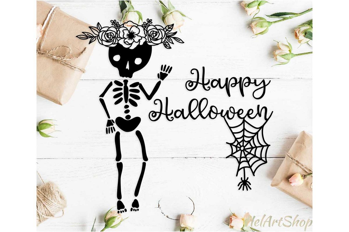 Floral halloween skeleton svg, Happy halloween svg example image 1