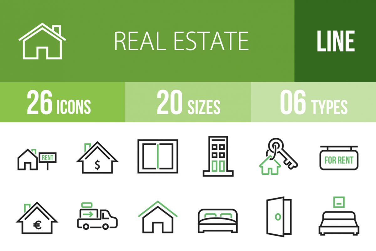 26 Real Estate Line Green & Black Icons example image 1