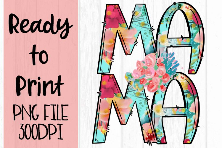 Bright Floral Mama Ready to Print example image 1