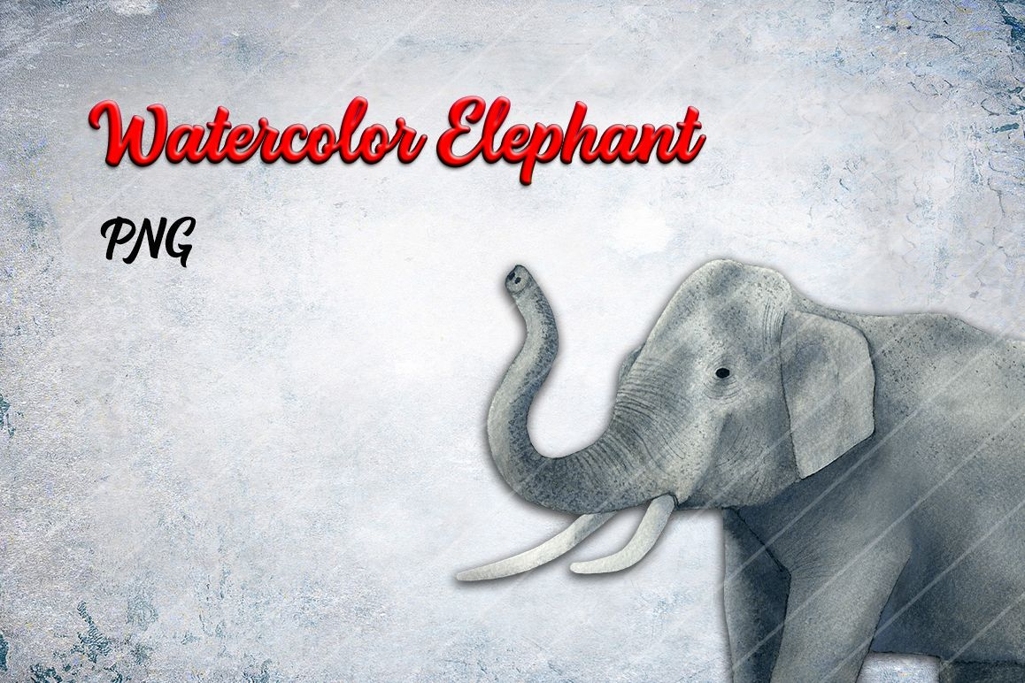 Watercolor Elephant PNG example image 1