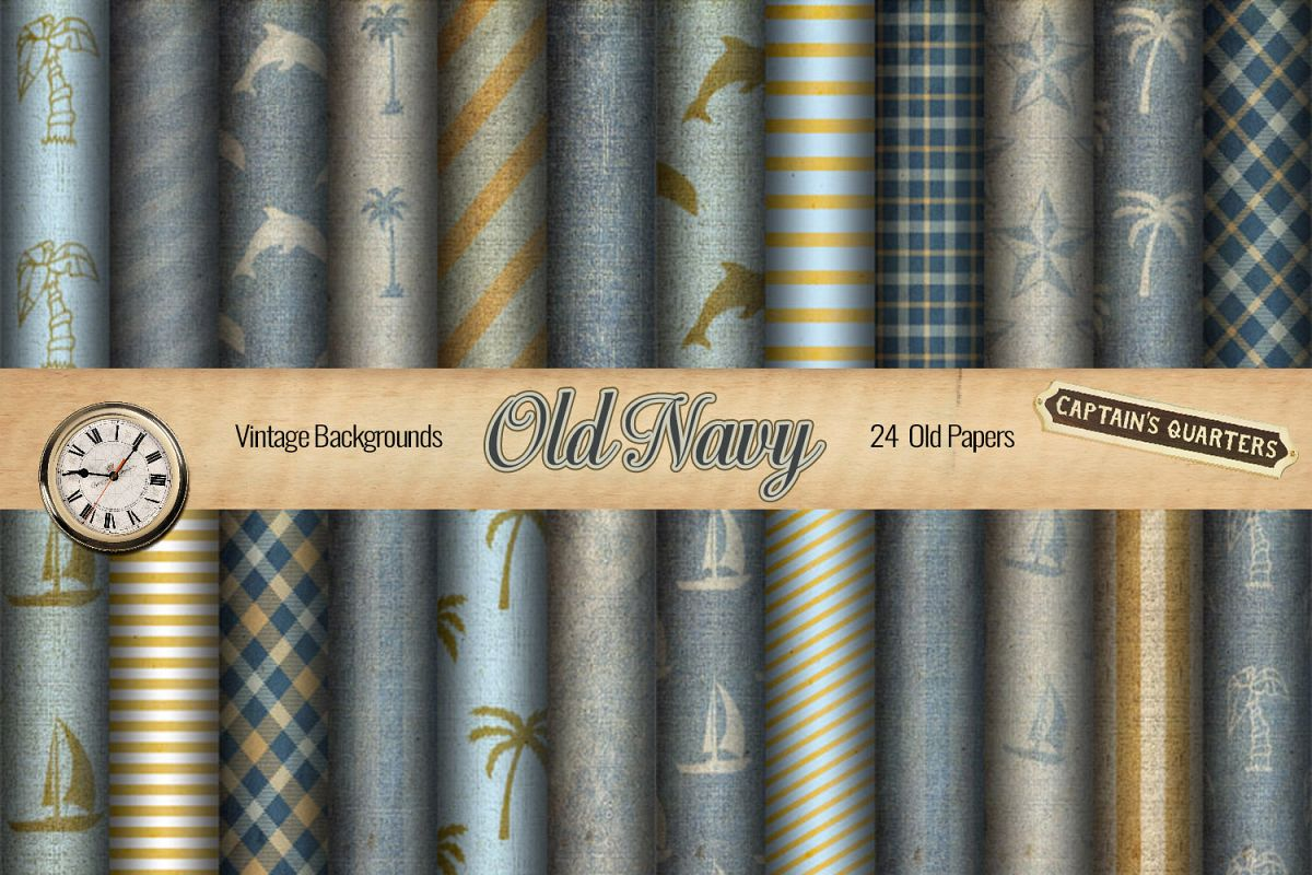 24 Nautical Vintage Background Papers - JPG example image 1
