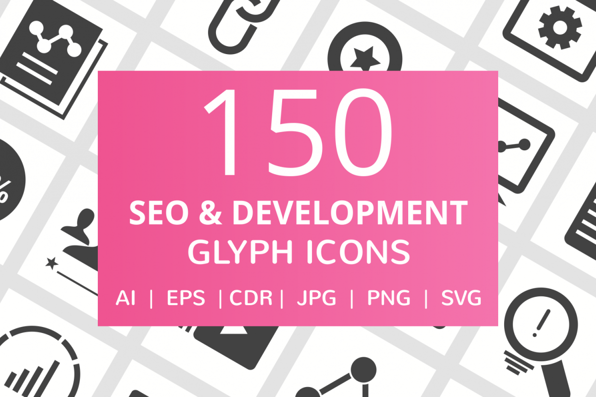 150 SEO & Development Glyph Icons example image 1
